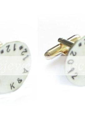 Personalized Stamped Cufflinks Initial Date Hand Stamped Wedding Men Cuff links custom gift wedding birthday