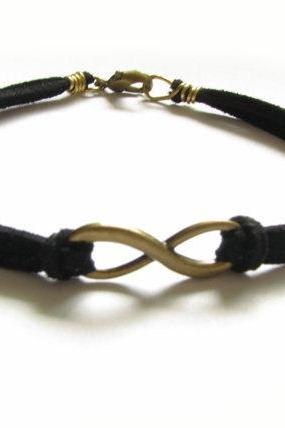 Bronze Infinity Bracelet Knot Wire Wrapped Black Leather Suede Bronze Jewelry