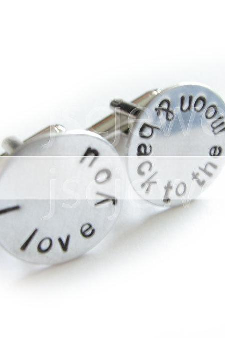 Love Men Cufflinks Hand Stamped I Love you to the moon & back Wedding Groom Father Cuff Links Personalized Gift Wedding Birthday