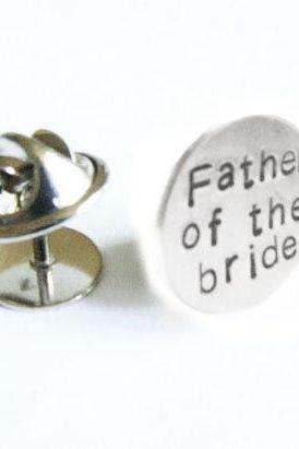 Father of the Bride Tie Tack Silver Lapel Pin Personalized Custom Accessory Gift for Groom Man Father Dad Groomsman tux studs