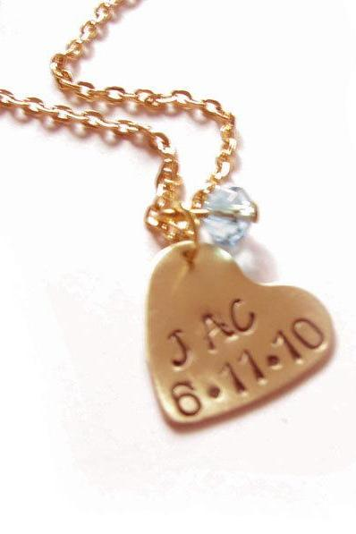 Heart Stamped Necklace Personalized Hand Stamped Custom Pendant chain pearl charm wedding birthday