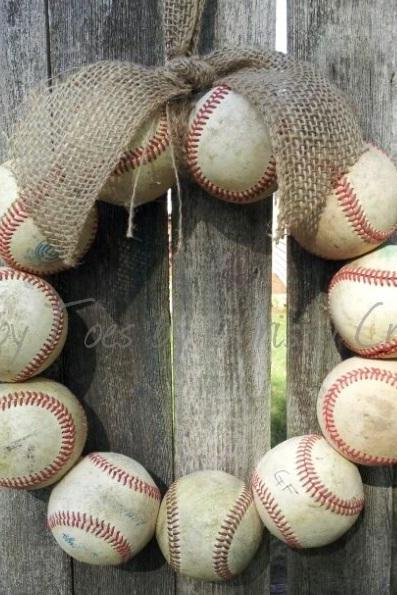 Burlap Baseball Love Wreath with Tie