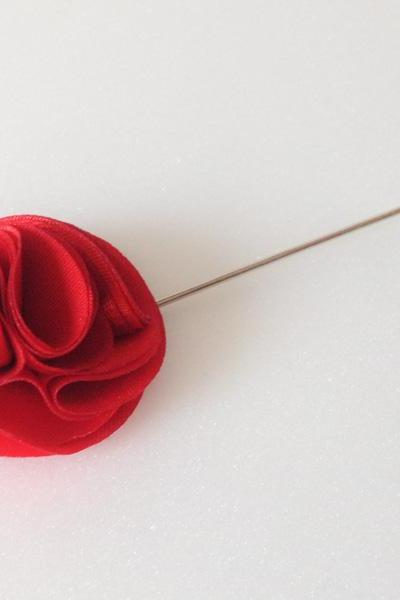 Pom pom RED Men's Flower Boutonniere / Buttonhole For Wedding,Lapel Pin,Tie Pin