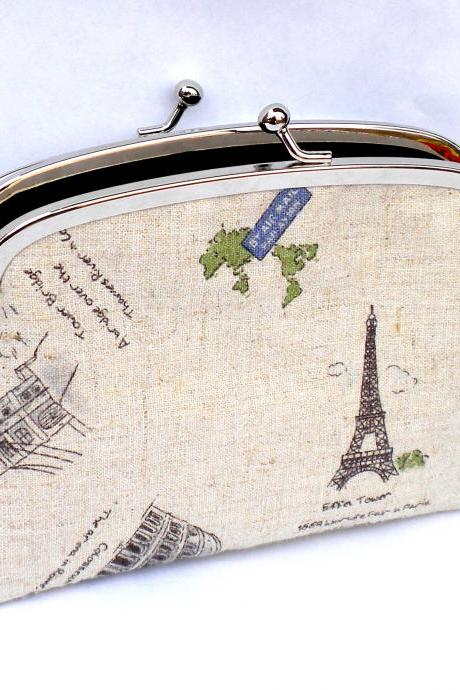 Linen world travel coin purse with 2 compartments and black interior eg. Rome, Paris, london