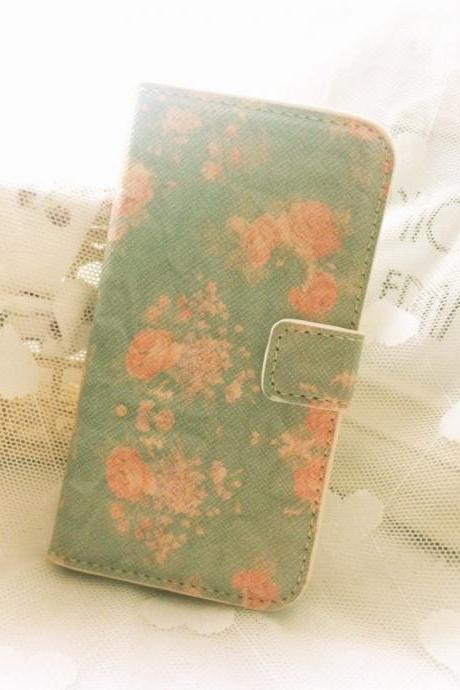 Mint Floral Print Leather Case for iphone 4 iphone 4s