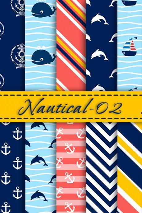Nautical digital scrapbooking paper pack Digital Backgrounds Digital Paper Nautical Scrapbook Paper