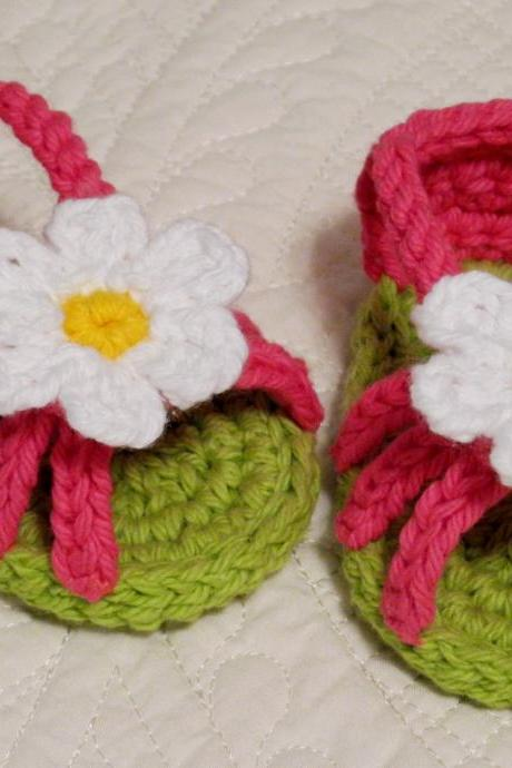 Pink and Lime Baby Sandals - Shoes - Crochet, Flower
