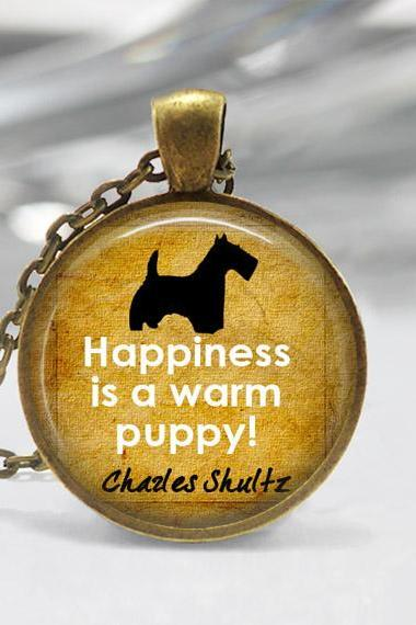 1 inch Round Pendant Tray - Happiness is a warm puppy