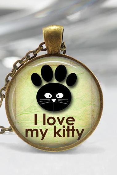1 inch Round Pendant Tray - I Love My Kitty