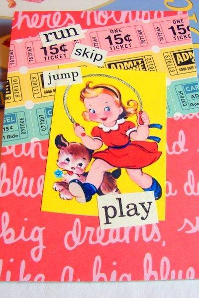 Run Skip Jump Play - Girl And Dog Skipping Rope - Kids Nursery Childrens Wall Art Decor Ready To Frame - Original Collage
