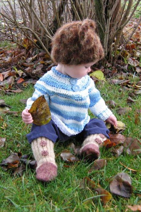 Super comfy, slouch baby, Little Boy Blue, 100% cotton baby pull over sweater - OOAK - Ready to Ship