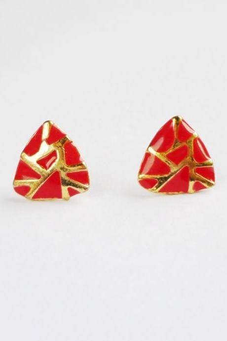 On SALE - Hot Red - Red and Gold Crack Triangle Stud Earrings - Gift under 10
