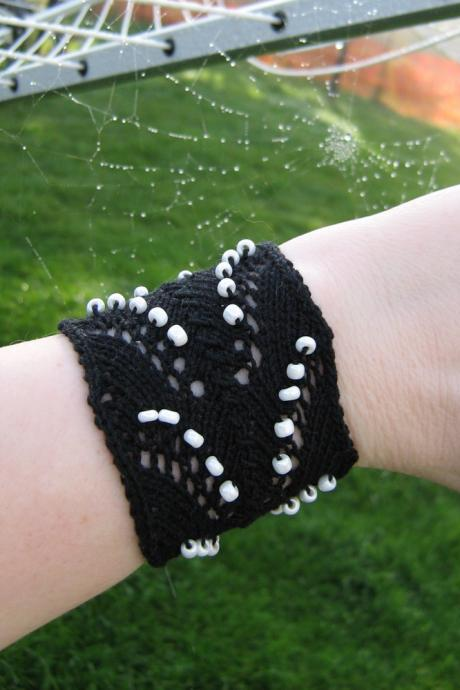 Black Cotton Knit Lace Cuff Bracelet with White Beads - Ready to Ship