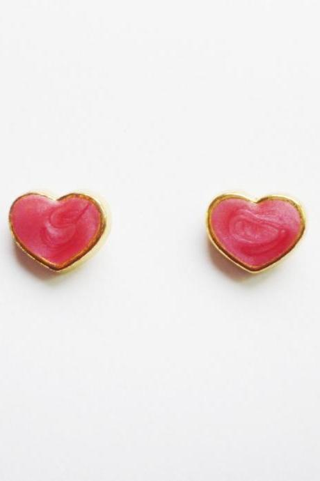 On SALE - Pink Heart Gold Plated Stud Earrings - Bridesmaid gift - Gift under 10