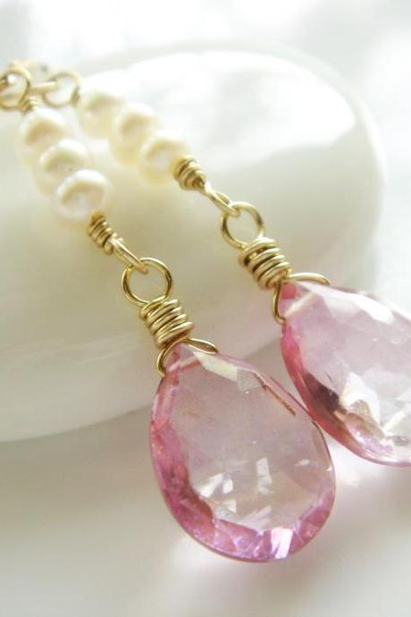 Ellena Alluring Pink Topaz Freshwater Pearl 14k Gold Filled Earrings