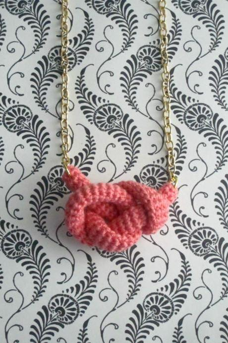 Bonds, crochet knot necklace. Nautical knot. Coral pink cotton yarn