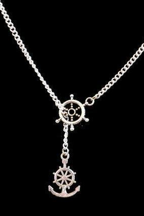 Ship Anchor and Wheel Necklace on Silver Chain