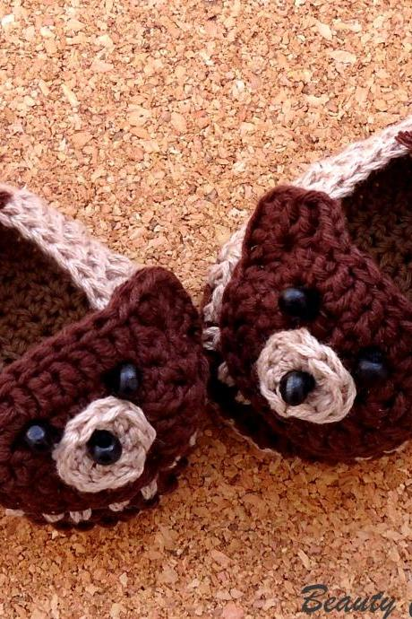 Teddy Bear Baby Crochet Shoes