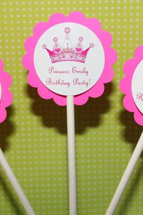 PERSONALIZED Princess Crown Party Cupcake Party Toppers - Custom