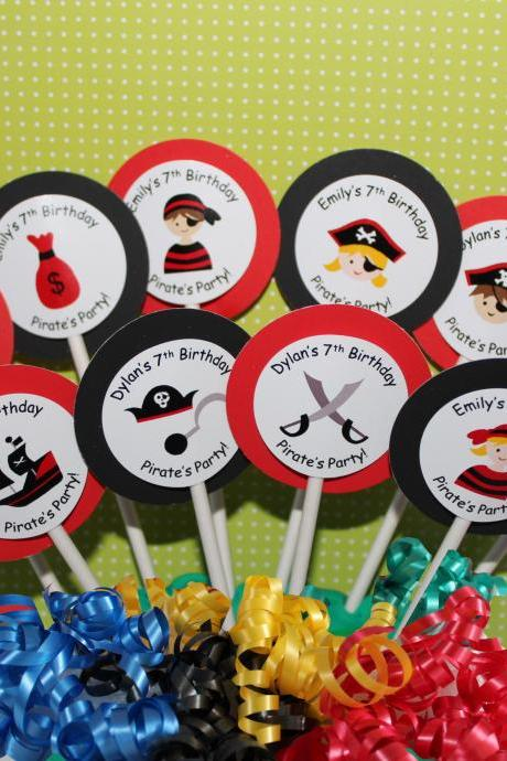 PERSONALIZED Pirate Party Cupcake Party Toppers - Custom