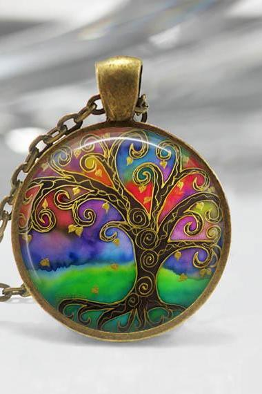 1 inch Round Pendant Tray - Tree Of Life 03