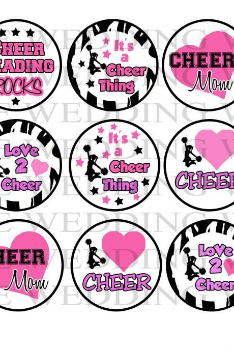 Cheerleading No. 155 Digital Bottle Cap Images - Mustache Bash