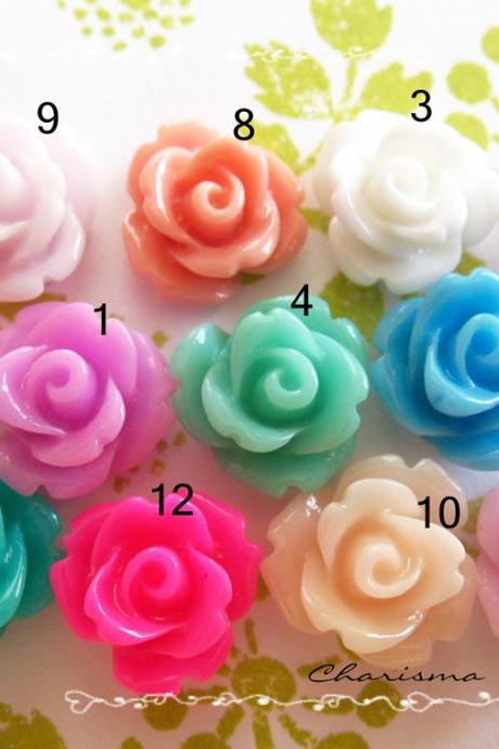 8 Resin Mini Roses Mum Flower Cabochons Accessory 10x6.5mm