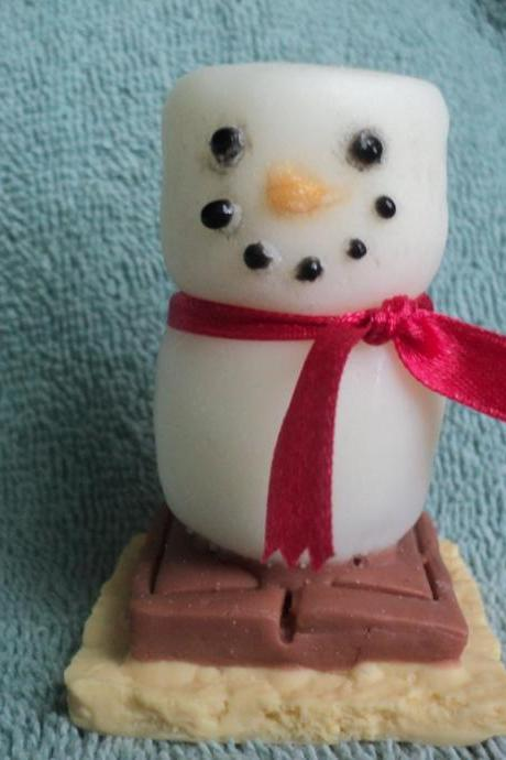 S'mores Snowman Soap - Toasted Marshmallow Scent