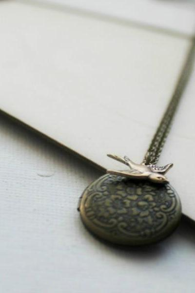 Antiqued Brass Floral Locket with Secret Message Inside
