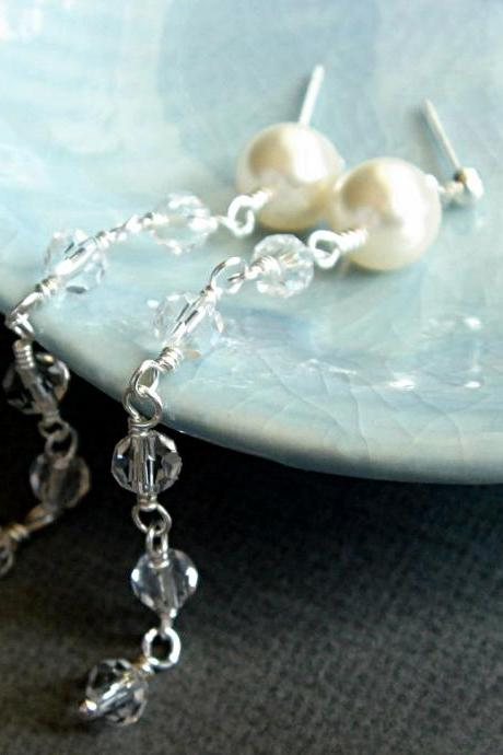 Cordella Romantic Pearl and Crystal Wedding Bridal Earrings