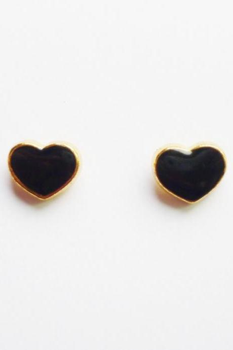 On SALE - Black Heart Gold Plated Stud Earrings - Bridesmaid gift - Gift under 10