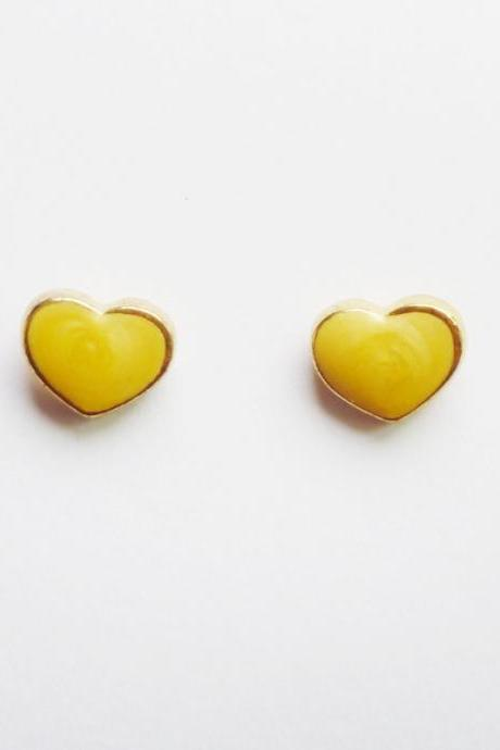 On SALE - Yellow Heart Gold Plated Stud Earrings - Bridesmaid gift - Gift under 10
