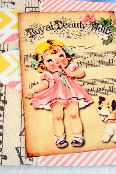 Royal Beauty Waltz - Girl And Puppy Dog - Coaster - Large Paper Chipboard Decoupage Collage Drink Bar Tea Beverage Coffee