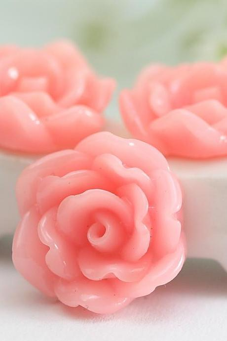 Pink Flower Resin Cabochons 12pc