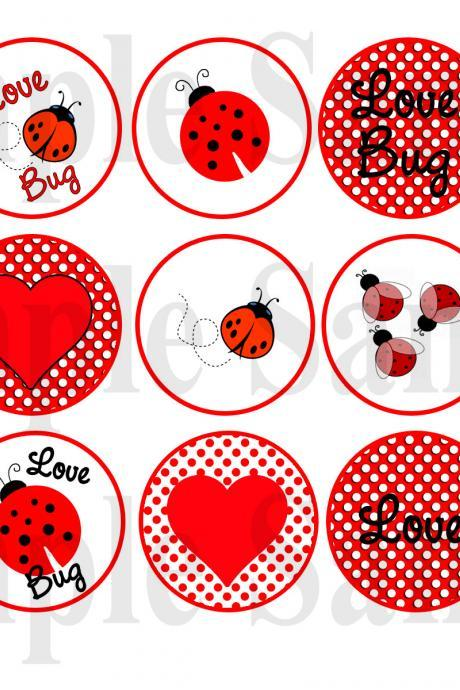 LADY BUG LOVE No. 259 Digital Bottle Cap Images - Mustache Bash