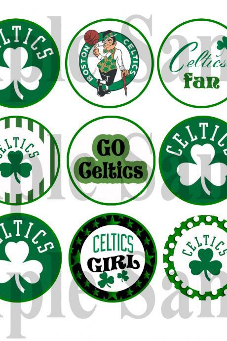 Boston Celtics Digital Bottle Cap Images - Mustache Bash