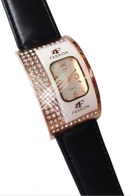 Exquisite Leather Band Quartz Watch with Crystal Rhinestones for Girl /BLACK COLOR
