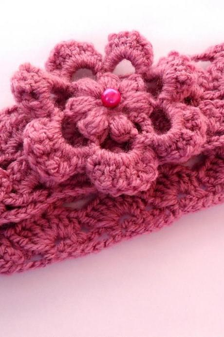 Easy Pattern Crochet Headband with Flower
