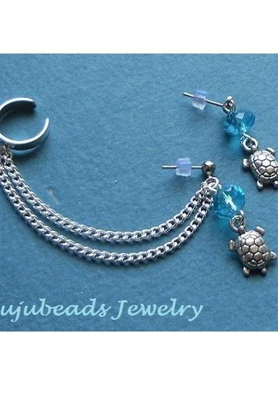 Swarovski Crystal Turtle Ear Cuff Set