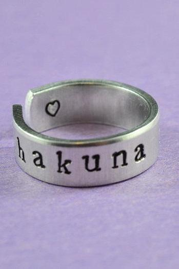 hakuna matata - Hand Stamped Aluminum Ring, Shiny, Skinny Ring, Lion King Inspired, Newsprint Font