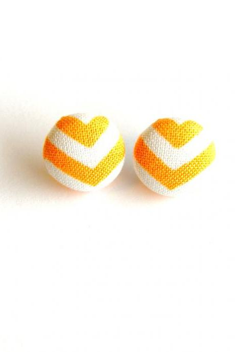 Orange and White Chevron Stud Earrings