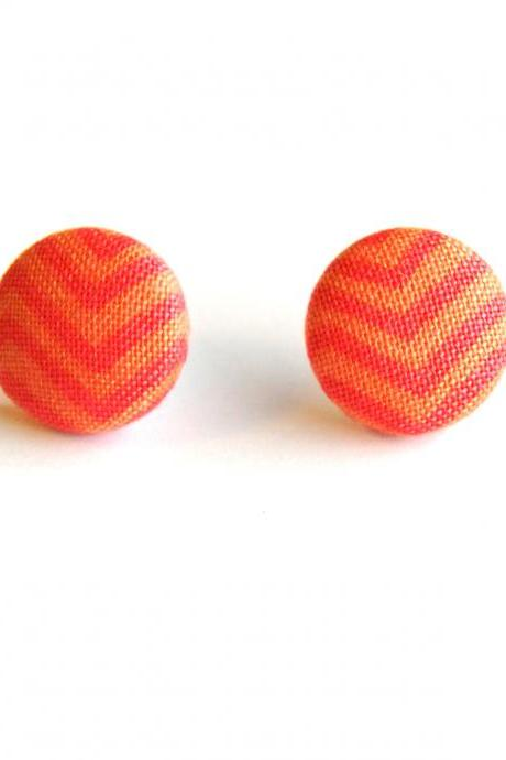 Orange Zigzag Button Covered Earrings