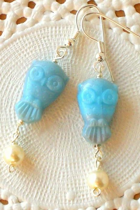 'Wisdom' 01, blue owl earrings - 'Treasures' collection - aqua blue, vintage style jewelry
