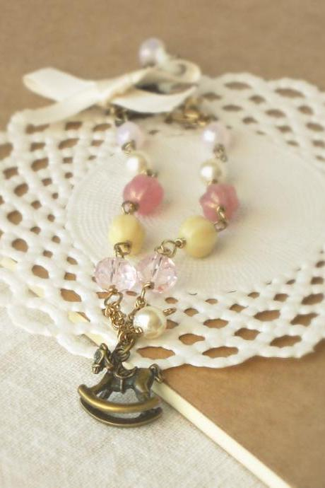 'Adventures on a rocking horse' romantic vintage style bracelet - 'Treasures' - in dusty pink and cream