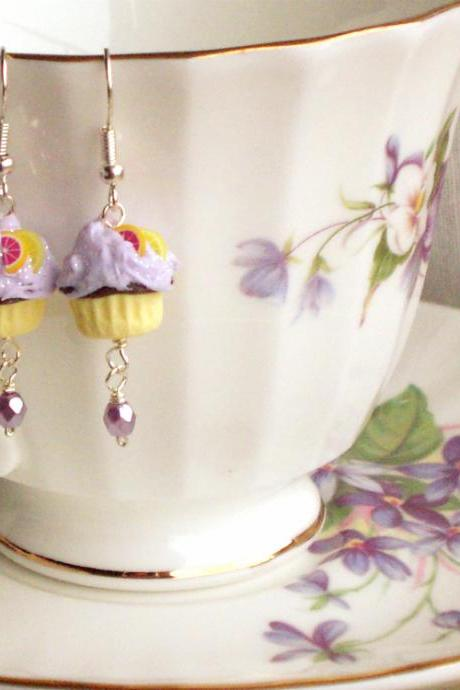 Girl cupcake earrings in lilac and yellow, polymer clay, children kids jewelry