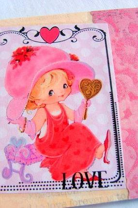 Girl Playing Dress Up With A Mirror - Love - Coaster - Large Paper Chipboard Decoupage Collage Drink Bar Tea Beverage Coffee