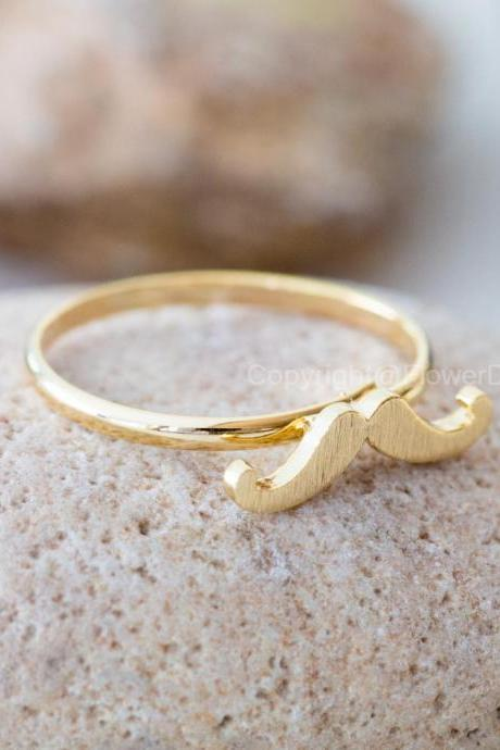 Cute mustache adjustable ring in gold ,adjustable ring,everyday jewelry, gift ring