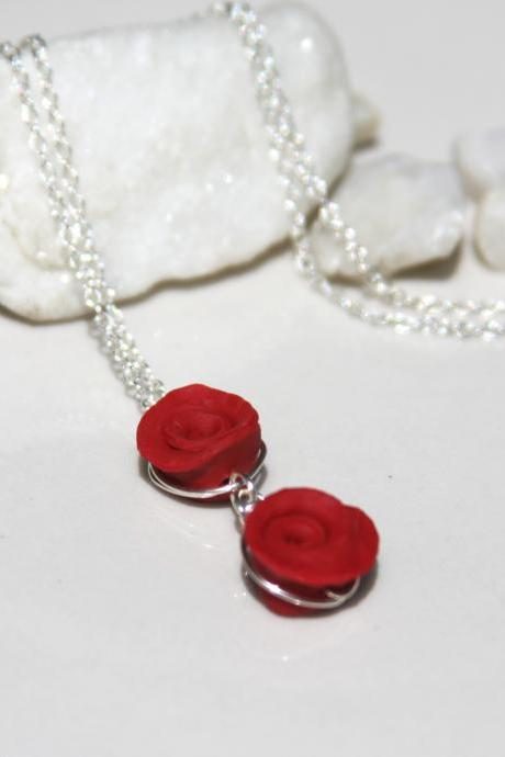 Sterling Silver Red Rose Bud Necklace handmade, Double Red Rose Necklace