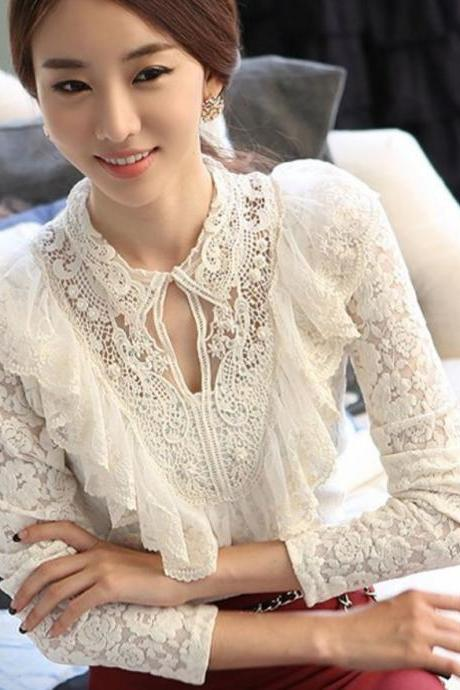 White Blouse for Chic Women Long Sleeve Summer White Tops Lace Ruffled Blouses
