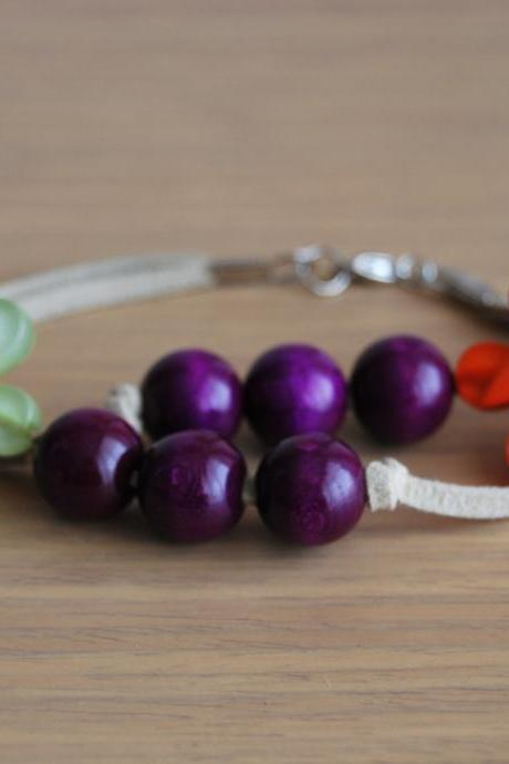 Trendy chic hippie Doble bracelet in lila, green and orange by El rincón de la Pulga